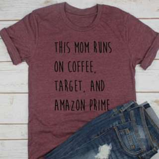 This Mom Runs On Coffee Design T-Shirt Custom Tee