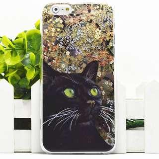 Apple iphone 6 plus 黑貓 3D立體卡通浮雕 超薄透明邊 彩繪手機殼 原價$98 特價$70 只餘一件