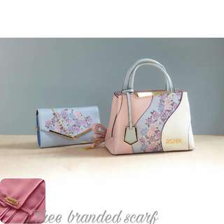 Bonia set bag (free nealofar scarf random color)