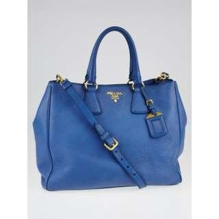 Prada Cobalto Vitello Daino Leather Shopping Tote Bag