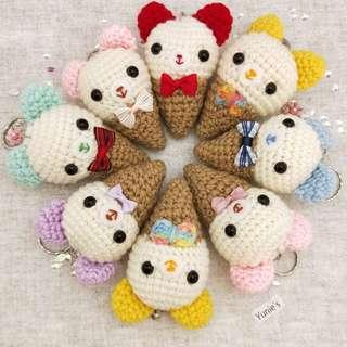 Bear amigurumi keychain, Ice cream Amigurumi keyring , crochet keyring, crochet keychain