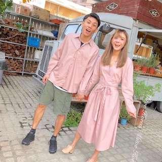 全新正韓綁帶粉色洋裝