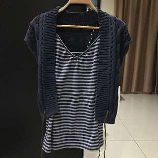 Massimo Dutti Knit Blue Outer & Sportsgirl Tank Top (Size S)