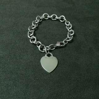 Tiffany co 心型手鏈 純銀