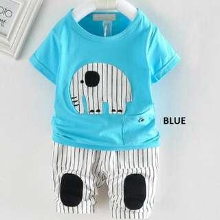 65018 Elephant Short Sleeve Shirt with Stripe Pants