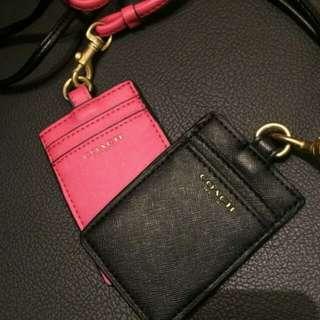 Coach Card Holder Black Pink