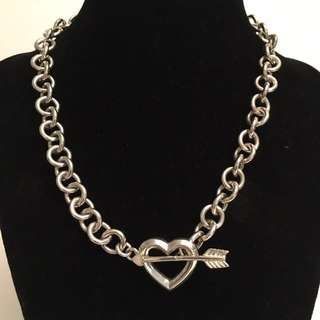 Authentic Tiffany & Co silver heart arrow toggle necklace *rare vintage