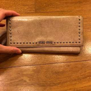 ORIGINAL Miu Miu stud wallet with charm