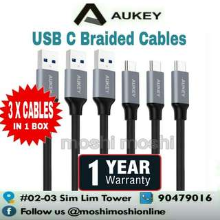 Aukey USB C Braided Cables (3 x Cables in 1 Box)