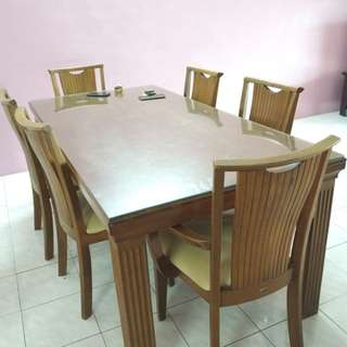 Dining Table Solid Wood + Cover Glass