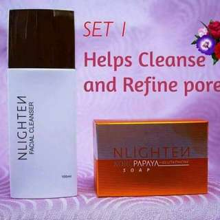 Nlighten facial cleanser and kojic soap