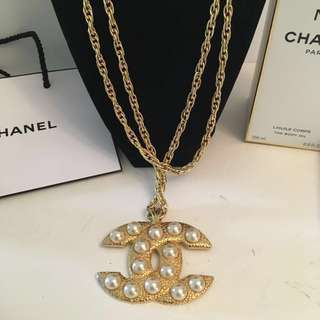 Authentic Iconic CHANEL CC gold faux pearl pendant & chain