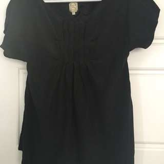 Anthropologie pure silk black small XS Tshirt Top