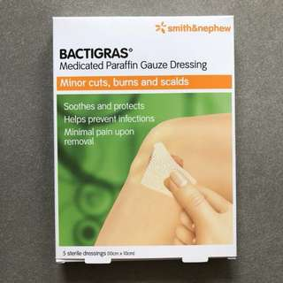 Bactigras 10x10cm medicated paraffin gauze dressing