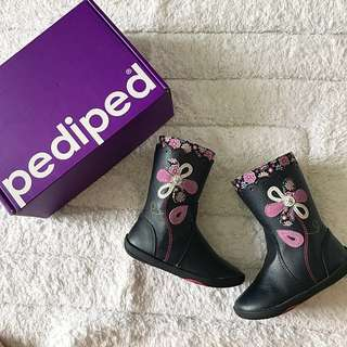 Preloved Pediped Baby Toddler Girl Kenadi Navy Floral Boots! With Box! US6-6.5 EUR 22