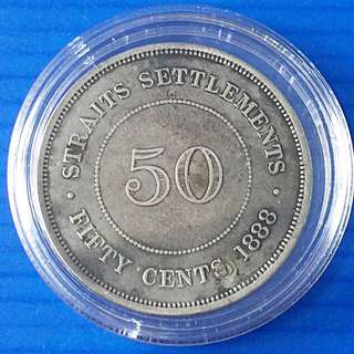 Straits Settlement QV Silver Coin 50 Cent Year 1888 ( refilled) / Rare sale 30%