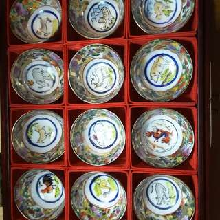 Vintage fine Chinese thin porcelain kung fu tea cup set