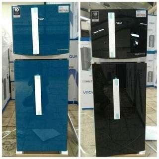 Kulkas Aqua 2 pintu, cicilan bebas uang muka