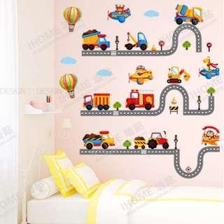 ☸DIY Cartoon track car wall stickers cute children room bedside background decoration stickers kindergarten classroom layout/Wall Decal 卡车轨道