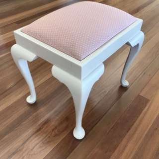 Wooden Stool with Pink Cushion