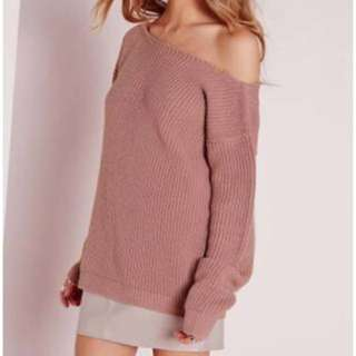 Missguided Off Shoulder Jumper in Nude Pink - Size S/M (AU8-10)