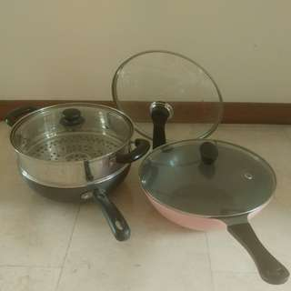 Frying pans and steamer
