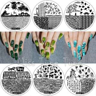NEW Premium Nail Stamping Plates Template Chineses Landscape Painting Image Transfer Small Size Round Stamp Kit