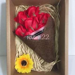 香皂玫瑰花禮盒-情人節花束