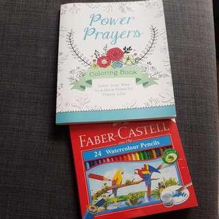 Colouring Book & Watercolour Pencil set
