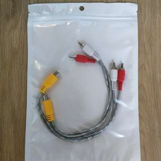 15cm RCA cable one female <> two male both directions
