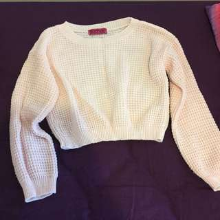 Boohoo Baby Pink Crop Sweater - Size AU8