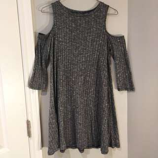 Forever 21 Grey ribbed open shoulder dress