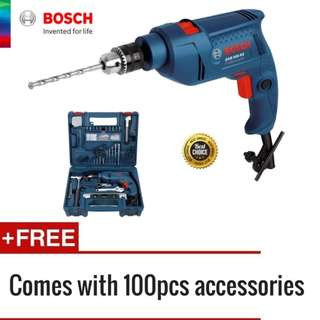 [FREE Delivery] Bosch GSB 10 RE 500 Watt Tool Set (6 Months manufacturer warranty) (+ Extra 100 pcs accessories )
