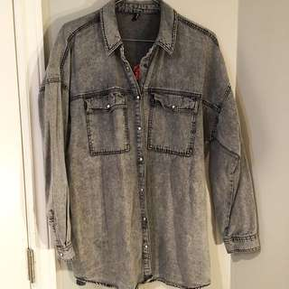 Grey denim oversized shirt/jacket with embroidery