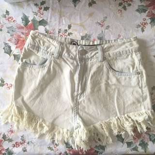 Bleached Denim High Waisted Shorts