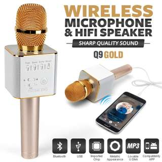 Q9 ktv microphone bluetooth Gold colour