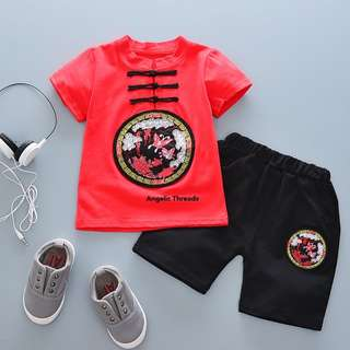 (Ready Stock) Baby Clothing Boys Clothing Baby Boy Shirt Pant Set CNY 0-3 Years