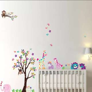 $16🎁2 in 1 Large Size Cartoon Animal Giraffe Monkey tree removable self-adhesive living room children's bedroom wall decoration wall sticker/Home decor