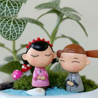 One pair chinese couple decor for bonsai landscape, gardening