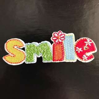 Bn smile wording iron on patch
