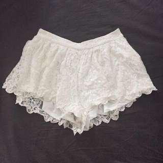 Off White Lace Boho Shorts/culottes/skort