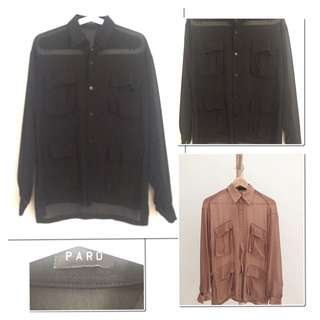 Preloved #pard (local brand) - four pockets sheer shirt
