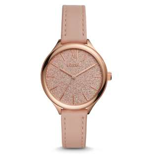 FOSSIL SUITOR THREE-HAND BLUSH LEATHER WATCH