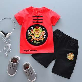 (Ready Stock) Baby Clothing Baby Boy Toddler Kids T Shirt Pant Set Dragon Casual CNY 0-2 Years Cotton