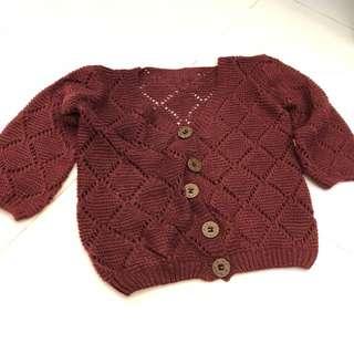 中袖針織襯衣(酒紅色)