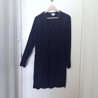 Size 8/S Witchery Black Boho Dress Knee Length LBD Long Sleeve Dress