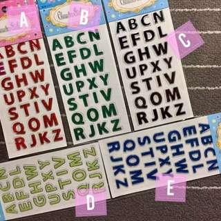 Alphabet Glitter Stickers