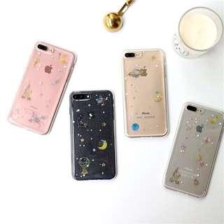 PO(257) Moon Castle Cat Unicorn Star Glitter Transparent iPhone Phone Case