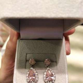 高貴淡粉紅水晶水滴形耳環(實物更加靚)