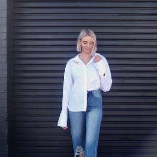 Sonder the Label White button up shirt Gold details